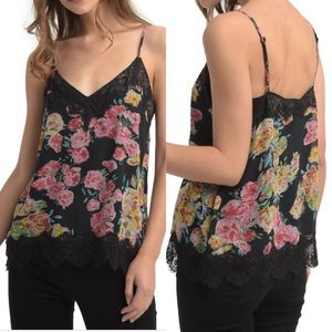 ELLA MOSS Silk Lace Floral Trim Slip Top {051}